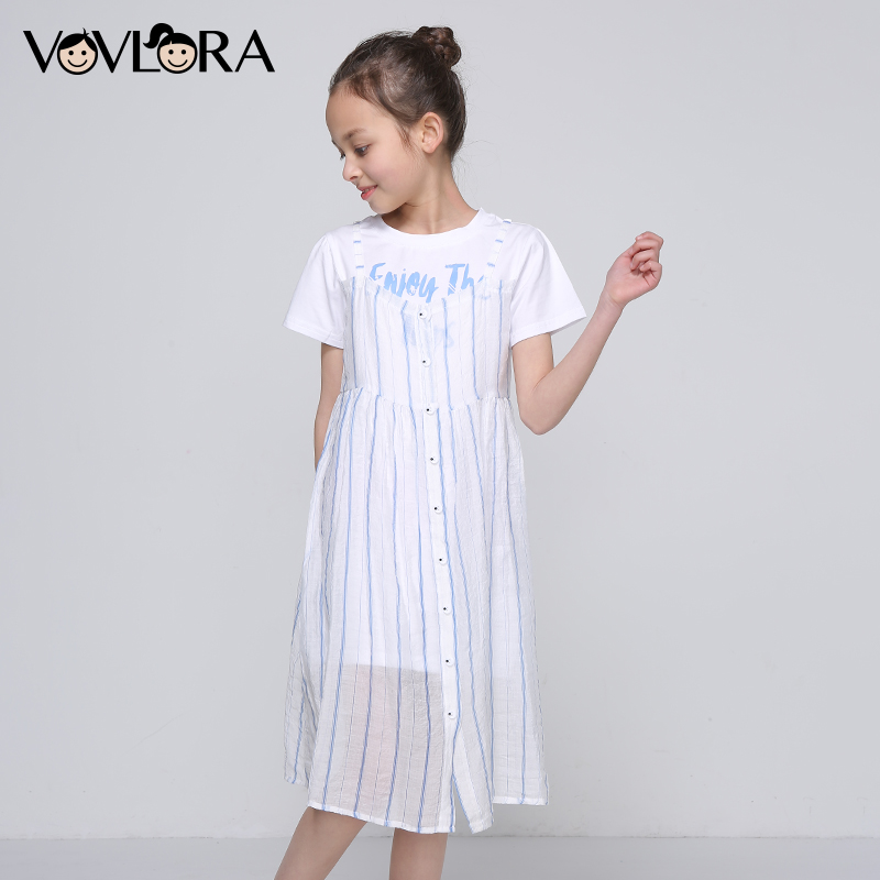 Kids Dress Tiered Suspenders Short Sleeve Girls Dresses A-Line Print Tops Children Clothes Casual Size 9 10 11 12 13 14 Years
