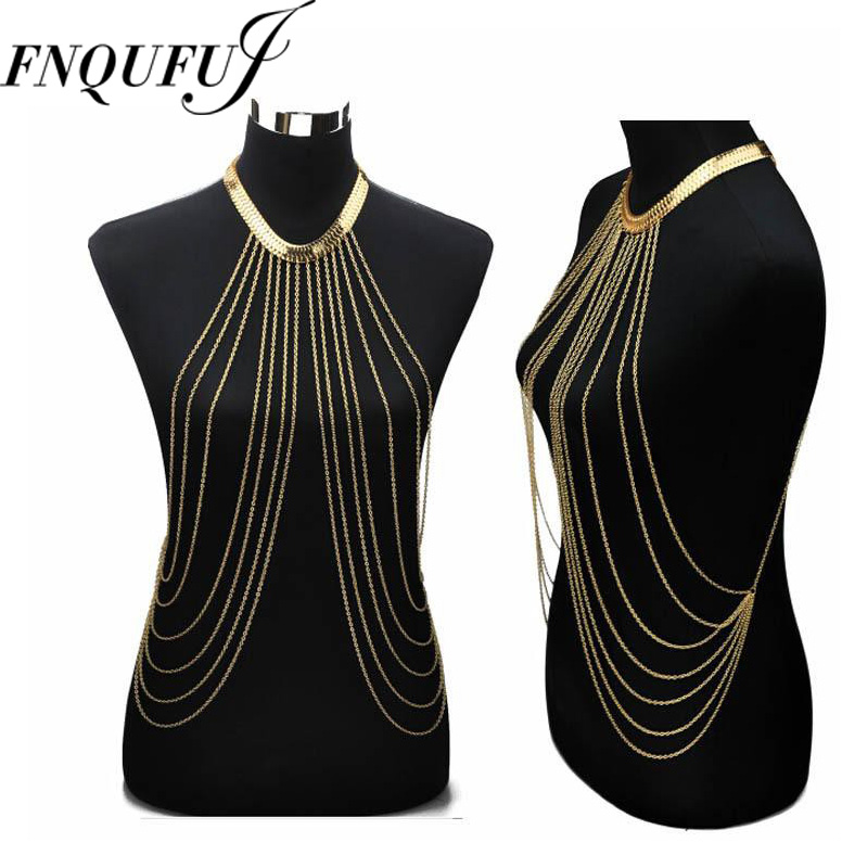 460ec6f8aae62 Sexy Chain necklace Women Necklaces Pendants Tassel Alloy Punk Long Necklace  2017 New Designer Female Fashion jewelry -in Chain Necklaces from Jewelry  ...