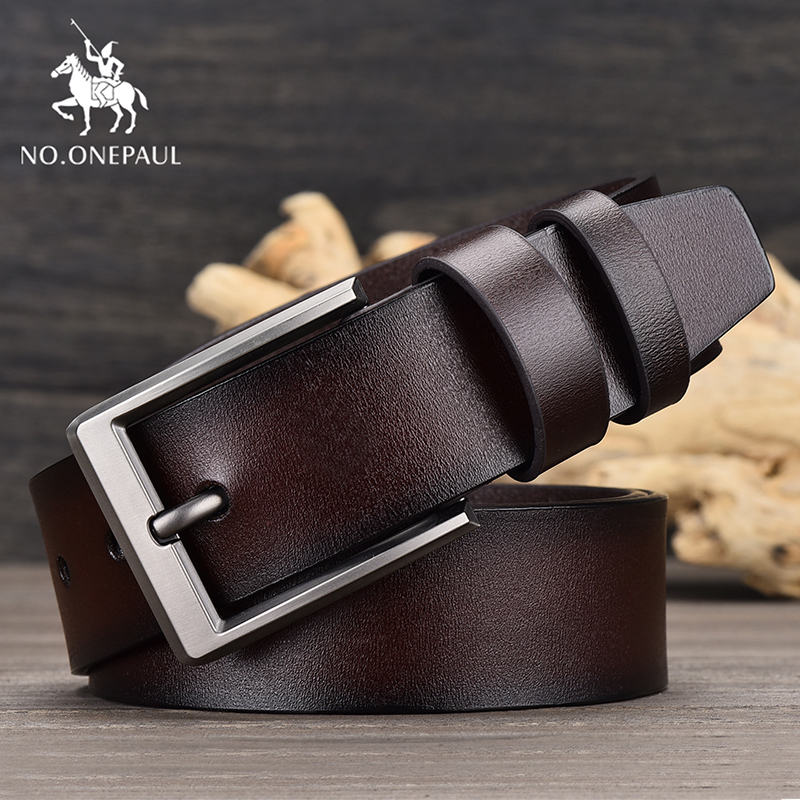 NO.ONEPAUL Men's designer's new skinny leather fashion belt alloy business style pin buckle high quality cowhide black belts