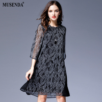 MUSENDA Plus Size Women Elegant Black Chiffon Lining Patchwork Dress 2017 Autumn Female Bohemian Dresses Vestido
