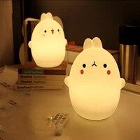 Rabbit LED Night Light USB Remote Control Lamps Silicone Soft Cartoon Baby Nursery Breathing Lamp