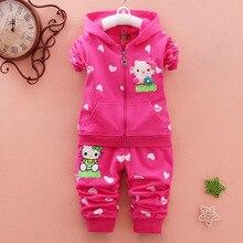 New Baby Girl Fall Clothing 2018 Hooded Infant Autumn Jacket Long Pant 2PCS Set Winter Cartoon