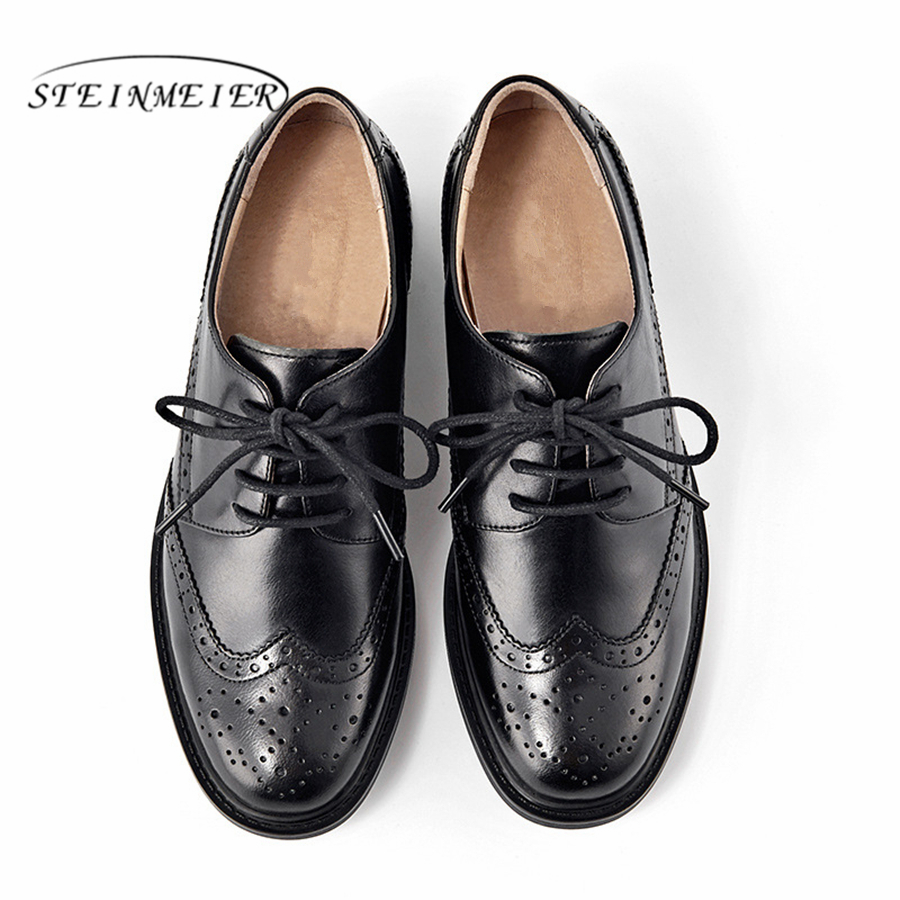 Genuine Leather Women brogues Flats Oxford Shoes Woman Sneakers lady Vintage Casual shoes for Women Footwear 2019 black brown in Women 39 s Flats from Shoes