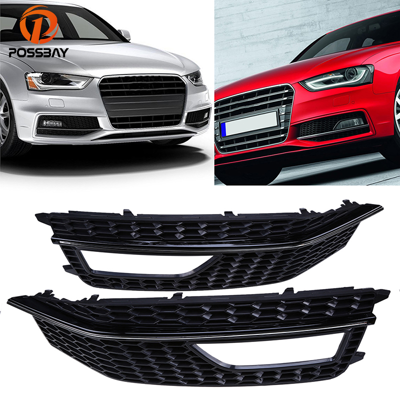 POSSBAY Left/Right Side Fog Light Cover for Audi A4 B8 2012 2013 2014 2015 S4 S-line Facelift Front Lower Bumper Grilles Vents for audi a4 b8 s4 a4 allroad 2008 2009 2010 2011 2012 2013 2014 2015 car styling right side led fog light fog lamp