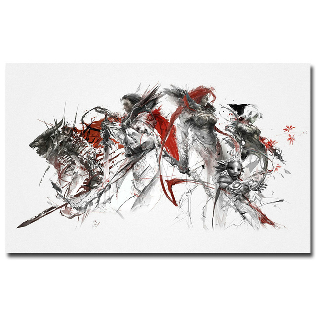 US $4 91 18% OFF|Guild Wars 2 Art Silk Fabric Poster Print 13x24 24x43 inch  Hot Game Picture for Living Room Wall Decoration 003-in Painting &