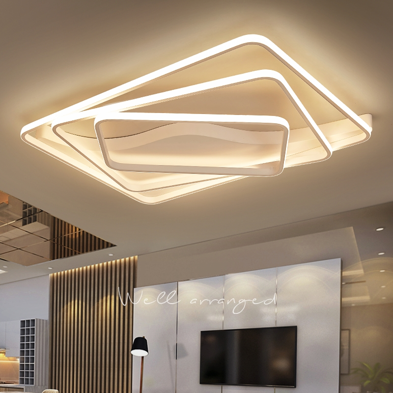 Lustre led moderne pour salon chambre aluminium vague Rectangle cercle lustre lustre Lightin haut plafond Chandelers