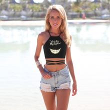 Women's Tank Top, Handmade Art Smiling Face Printed Letters Crop Tops, Sexy Halter Top Summer 2016 The New Trend