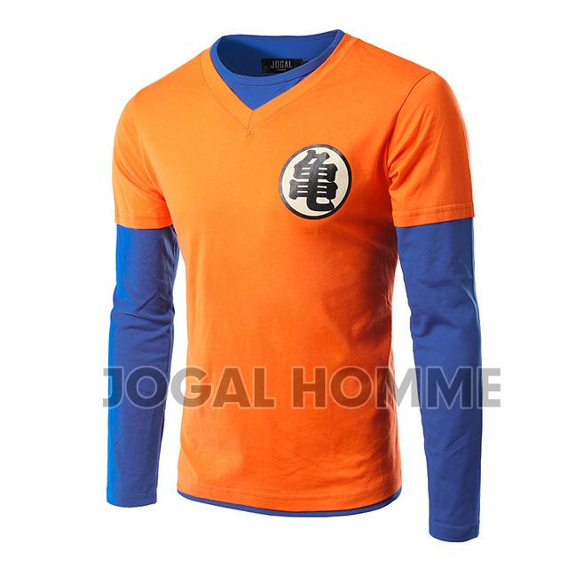 New Arrival Homens Dragon Ball camiseta Manga Longa Dupla Falso pescoço de design de moda homens cosplay clothing top t-shirt dos homens de alta qualidade
