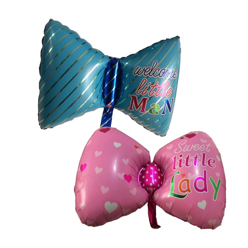 Baby Shower bow tie foil Balloons Baby Boy Girl Happy Birthday balloons inflatab