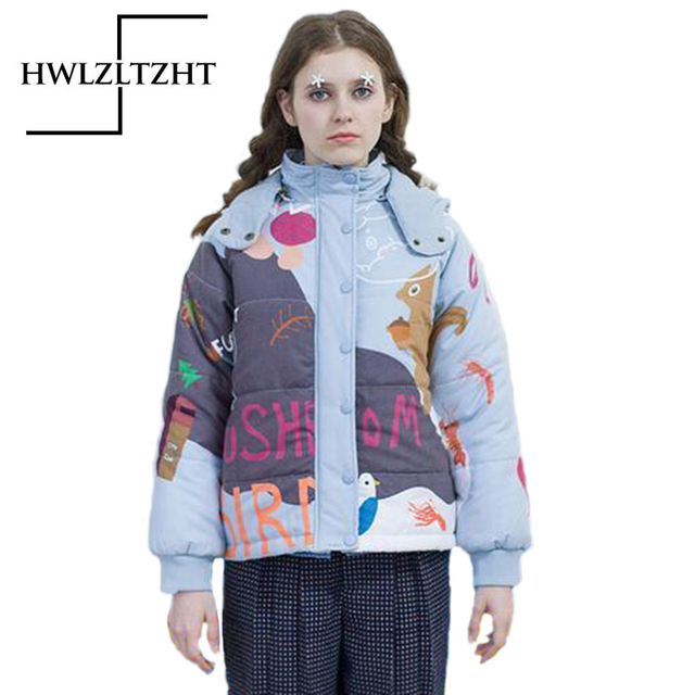 Fashion School Girl Winter ThickHooded Cartoon Printed  Down Parka Character Pattern Women Jacket Casual Down Loosen  Parkas