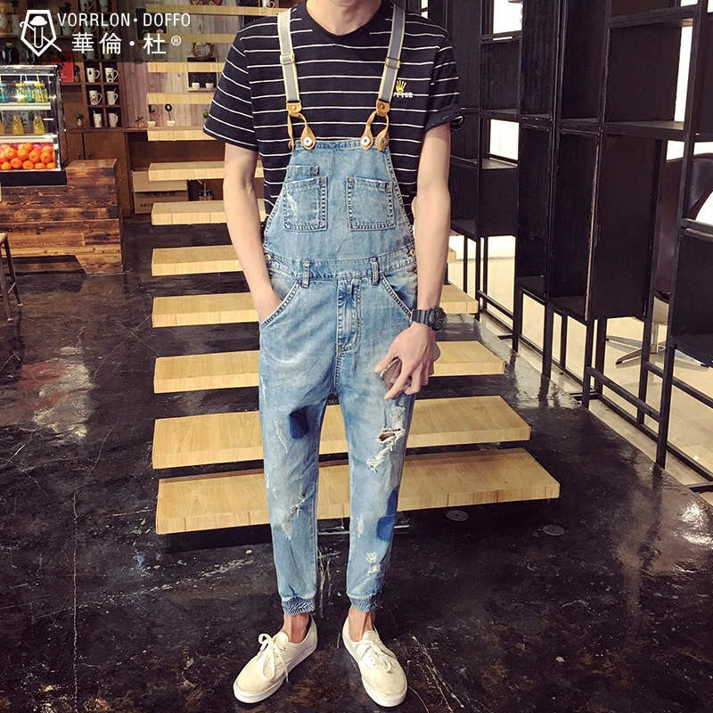 Men Patched Denim Overalls New 2017 Ripped Male Bib Jeans Garment Washed Ankle Length Overall Jeans Free Shipping denim overalls male suspenders front pockets men s ripped jeans casual hole blue bib jeans boyfriend jeans jumpsuit or04