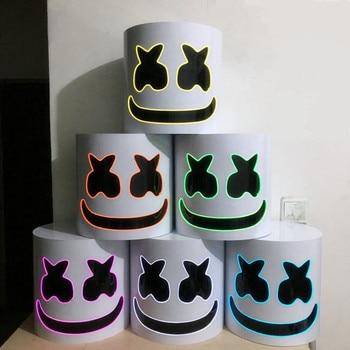 maschera marshmello dj  DJ Marshmello Cosplay Maschere LED Luminoso Materie Plastiche Dure ...