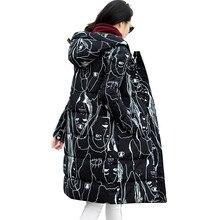 White Duck Down Jacket 2017 Printing Winter Coat Women Black Parka Hooded Maxi Coats Winter Jacket Women Ukraine Overcoat C2499