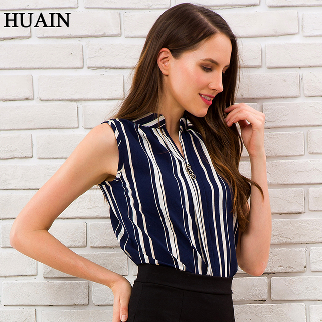 Blue Striped Blouse Shirt Sexy Sleeveless V-neck Summer Top 2018 Office Ladies Work Wear Fitness Female Korean Fashion Clothing 2