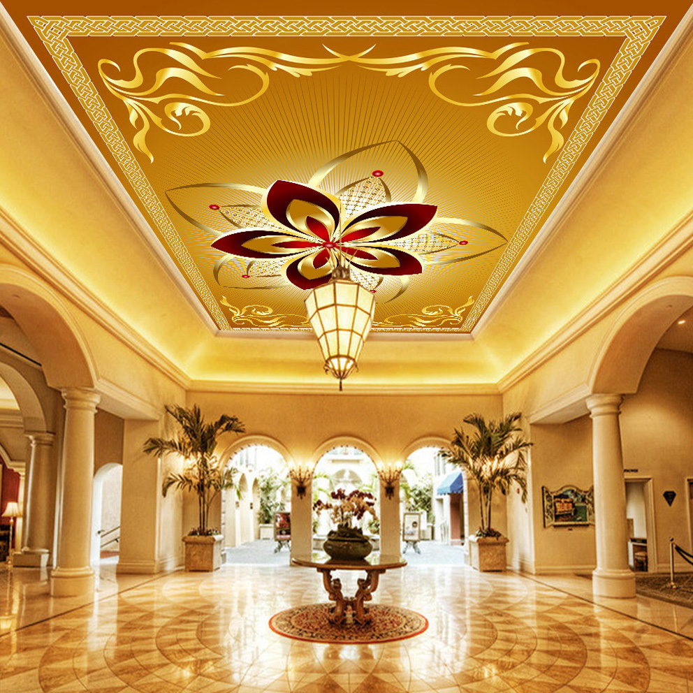 Custom 3D Wall Murals Wallpaper European Style Luxury Ceiling Mural Hotel Living Room Ceiling Decor Wall Painting Art Wallpaper