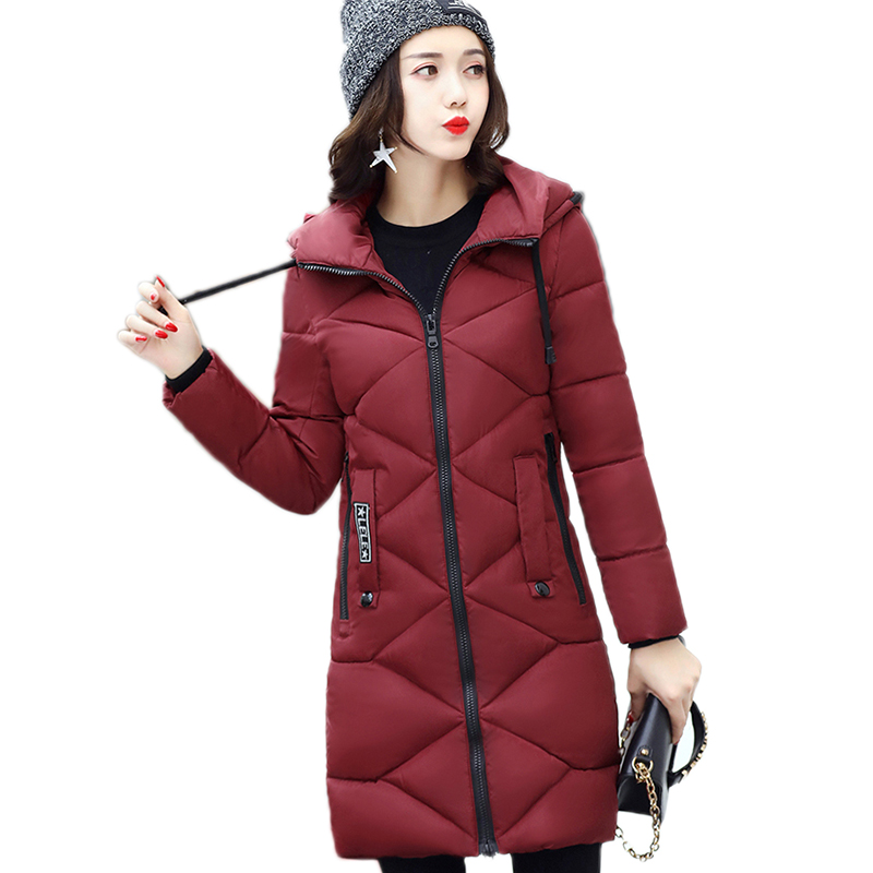 2017 Winter Fashion Long Slim Women Jackets High Quality Cotton-padded Solid Coat New Female Parkas Hooded Warm Outwear YP0408 new collocation winter warm parkas hooded pockets zipper solid thick women coat slim long flare slim cotton padded lady jackets