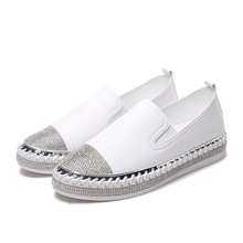 European Famous Brand Patchwork Espadrilles Shoes Woman Genuine Leather Creepers Flats Ladies Loafers White Moccasins