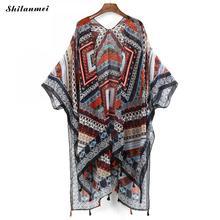 Women Chiffon Kimono Cardigan Floral Print Fringed Tassels Loose Boho Kimono Tops Plus Size Casual Blouse Blusas floral print loose fit kimono