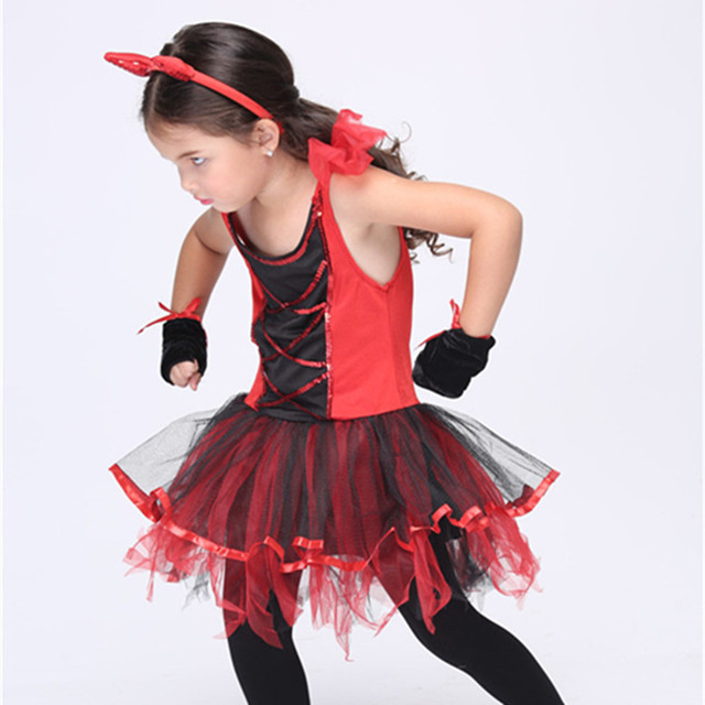 COULHUNT 2017 Devil Halloween Costumes Red Cat Girls Tutu ...