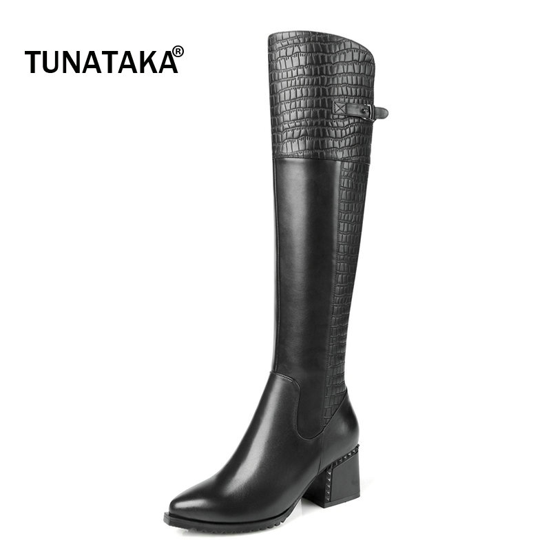Woman Genuine Leather Side Ziiper Square High Knee High Heel Boots Fashion Pointed Toe Buckle Dress Winter Boots Black Brown winter female woman round high engraving heel mid high rhinestone crystal buckle black real leather boots pointed toe shoe 1118