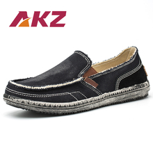AKZ Summer loafers Men's casual shoes Canvas shoes for men Denim soft Comfortable Breathable Walking Shoes Male Shoes