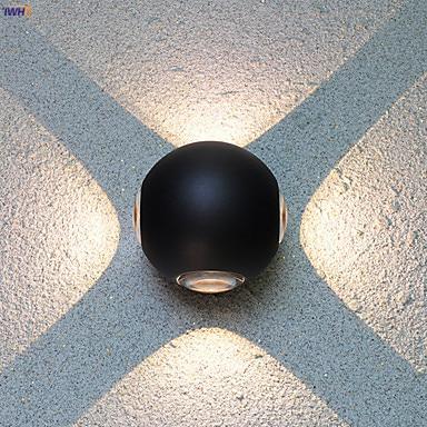 iwhd aluminio redondo conduziu a lampada de parede ao ar livre ip65 a prova dwaterproof