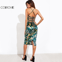 COLROVIE Lace Up Back Floral Velvet Dress 2017 Botanical Women Sexy Cami Midi Summer Dresses Green