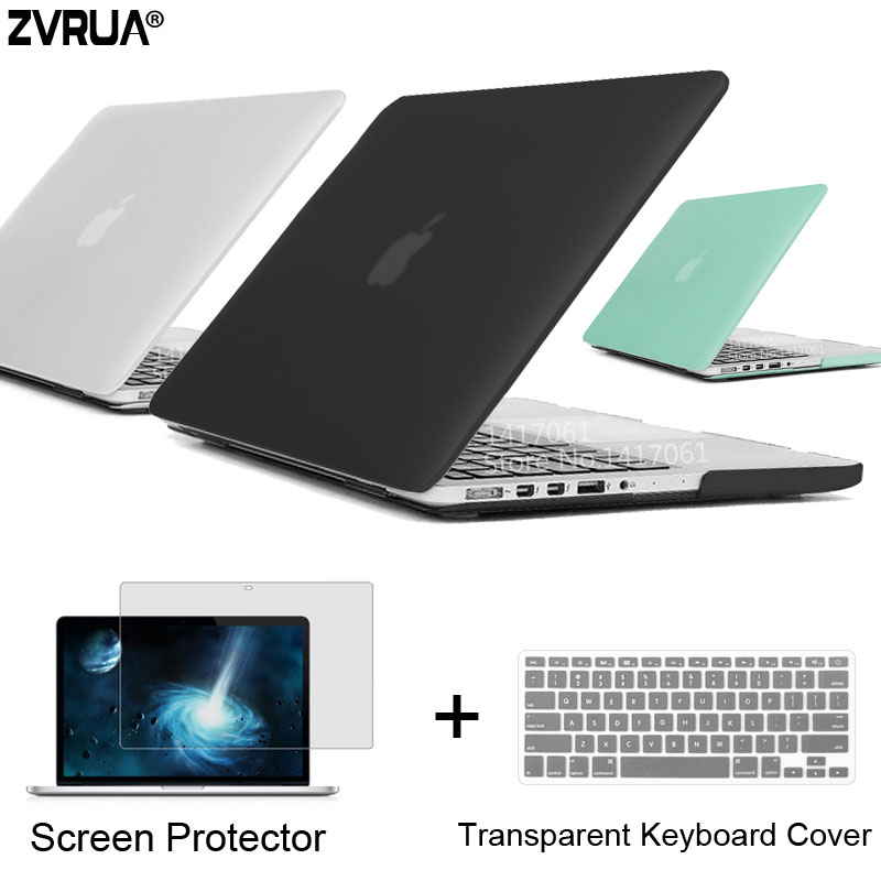 ZVRUA Best Laptop Case For MacBook 13 15 inch Pro with Retina A1502 A1398 / CD ROM A1278 A1286 + Keyboard Cover+Screen Protector