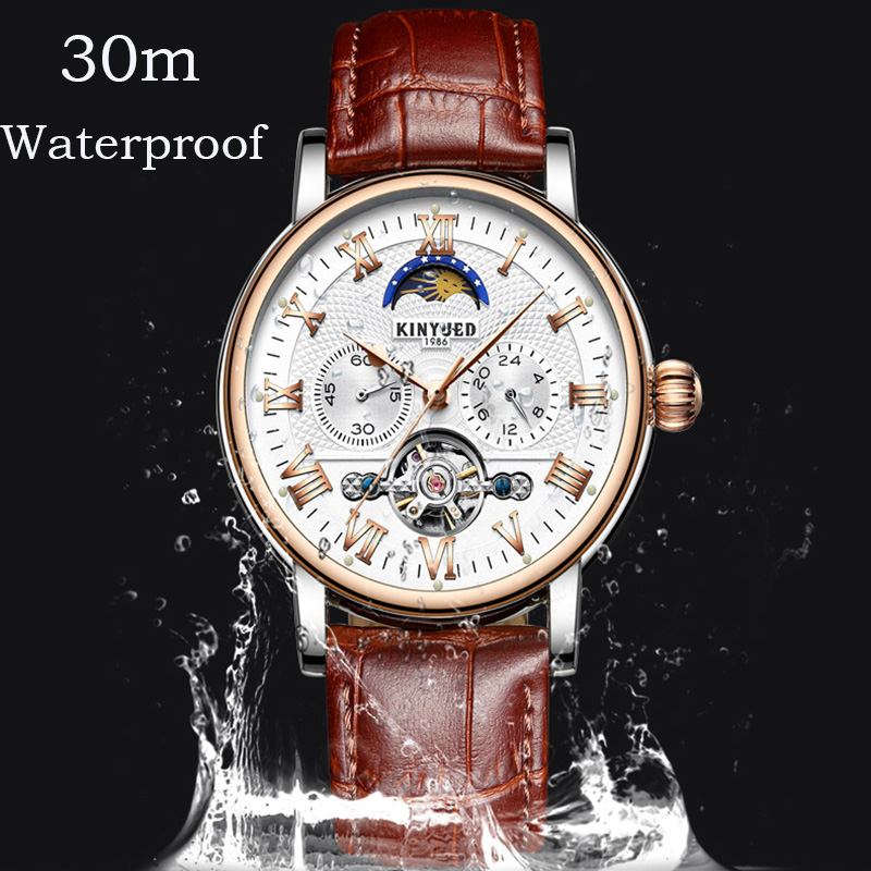 KINYUED Mens Automatic Chronograph Watches Fashion Business Mechanical Skeleton Watch Men Rose Gold montre automatique homme-in Mechanical Watches from Watches    3