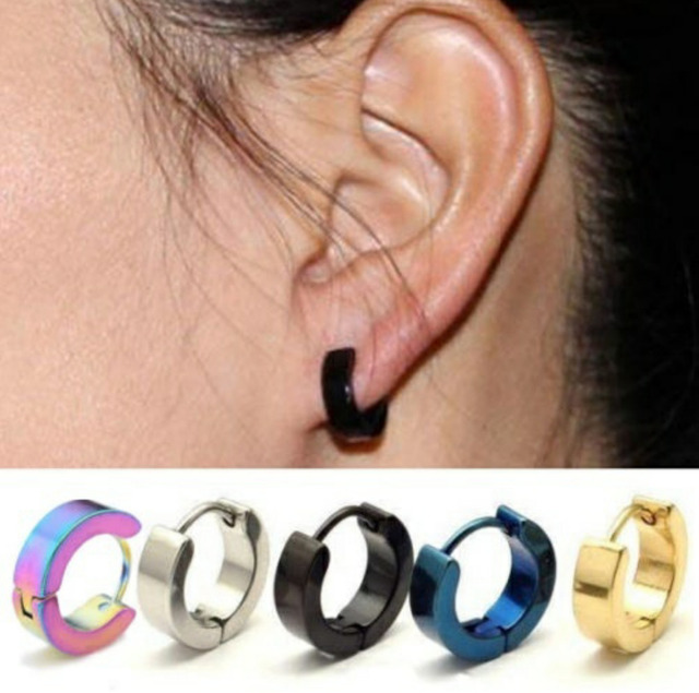 Fashion Mens Stainless Steel Hoop Earrings Small Women Gold Earring Silver Black Blue Costume Jewellery Whole