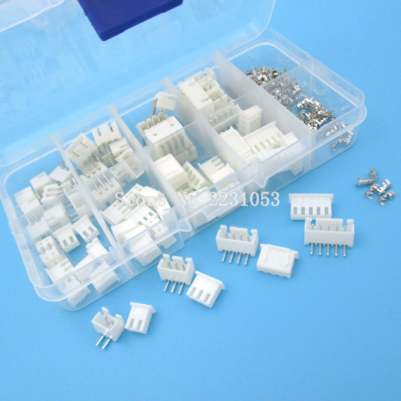 40 Sets Kit in box XH2.54 Right Angle 2p 3p 4p 5pin 2.54mm Pitch Terminal / Housing / Pin Header Connector Adaptor 60 sets kit 2p 3p 4pin right angle 2 54mm pitch terminal housing pin header connector wire connectors adaptor xh kits in box
