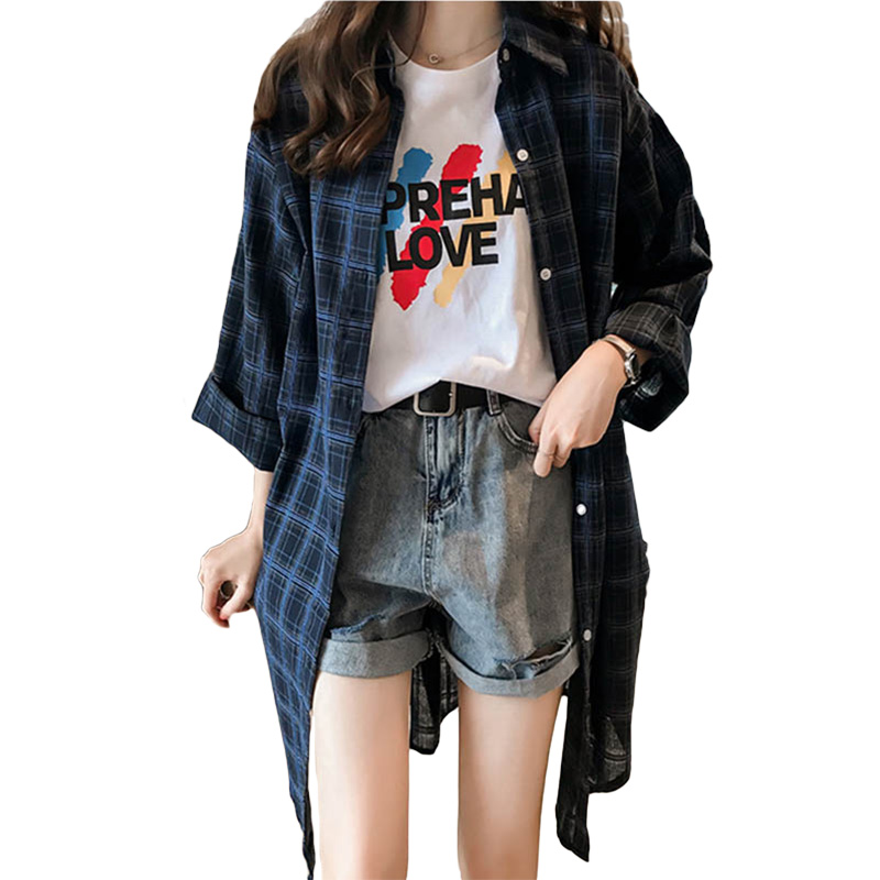 VogorSean Summer Womens Blouses Shirt Plaid 2019 BF Long Sleeve Plus Size Long Section Women Plaids Shirts Red/Blue/Yellow/White