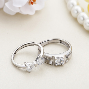 Sterling Silver Cubic Zirconia Couples Ring Set 4