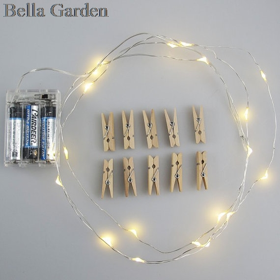 Купить с кэшбэком LED String Light with 10 wooden clips to display your Instant photos, Instax photos, post cards Wedding party Christmas Decor