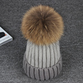 2016 New 100% Real Raccoon15CM  Fur Pompon Winter Hats Mix Color Warm Brand Casual Knitted Women Fur Hats Skullies Beanies