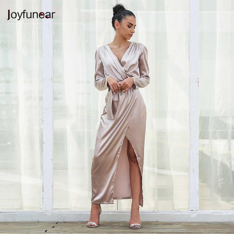 Joyfunear Satin Dress Women Long Sleeve V-neck Party Dress High Split Club  Wear With 96ed674710e6