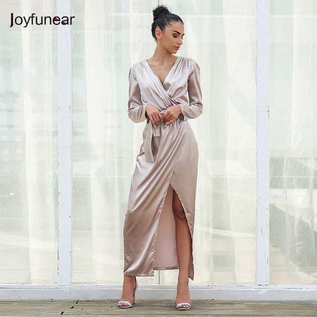 Women Satin Dress Long Sleeve V Neck Dress For Party Cub Wear High