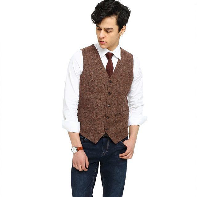 Online Shop 2018 Airtailors Brand Mens Vest Wedding Brown Wool ...