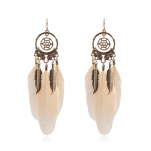 Personality Bohemia Hanging Dangle Drop Earrings for Women Vintage Dreamcatcher Feather Boho Gold Earrings Aretes De Mujer dreamcatcher design feather drop earrings