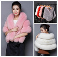 Warm Winter Solid Fur Shawl Pashmina fox fur coat Fashion Scarves Wraps Women Party Wedding Evening Dress