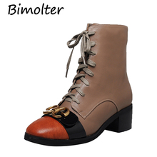 Bimolter Fashion Black Genuine Leather Ankle Boots Women Lace-Up Zipper Metal Decoration Martin Boots High Heels Shoes LAEB035 цена и фото