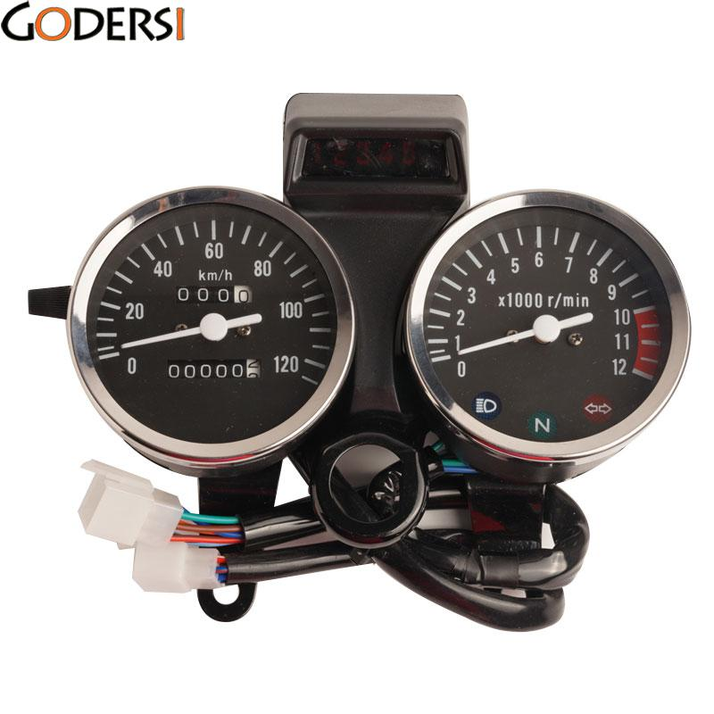 Professional Modified Accessories Moto Speed Counter Motorbike Odometer For Suzuki GN125 Speedometer Motorcycle Tachometer jianshe atv quad motorbike 250 atv250 speedometer odometer lcd led road speed gear position indicator counter time free shipping