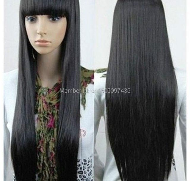 Suficiente P & P livre ^ ^ ^ ^ ^ ^ ^ ^ ^ ^ New charme cabelos longos pretos e  ME23