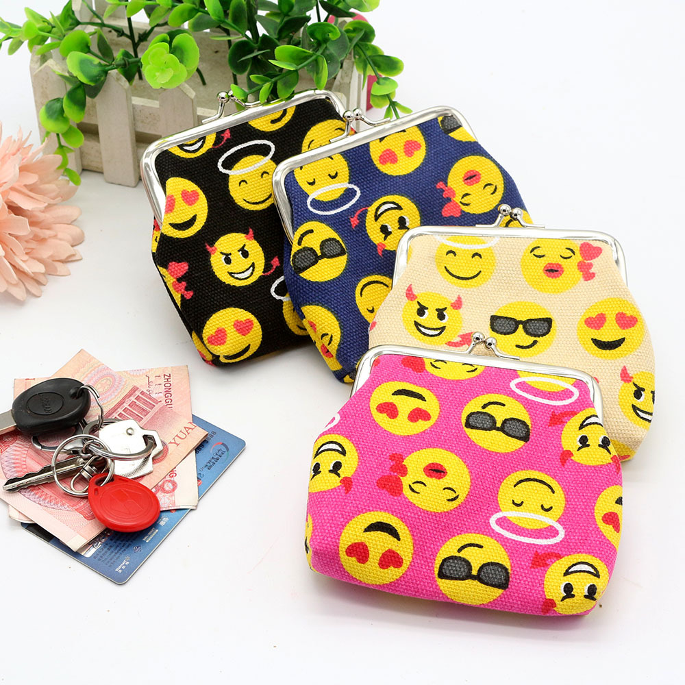 Cute Smile Face Child Zero Wallet Fashion Canvas Porte Monnaie 2017 New Hot-selling Kids Purse Creative Girls Mini Small Bag