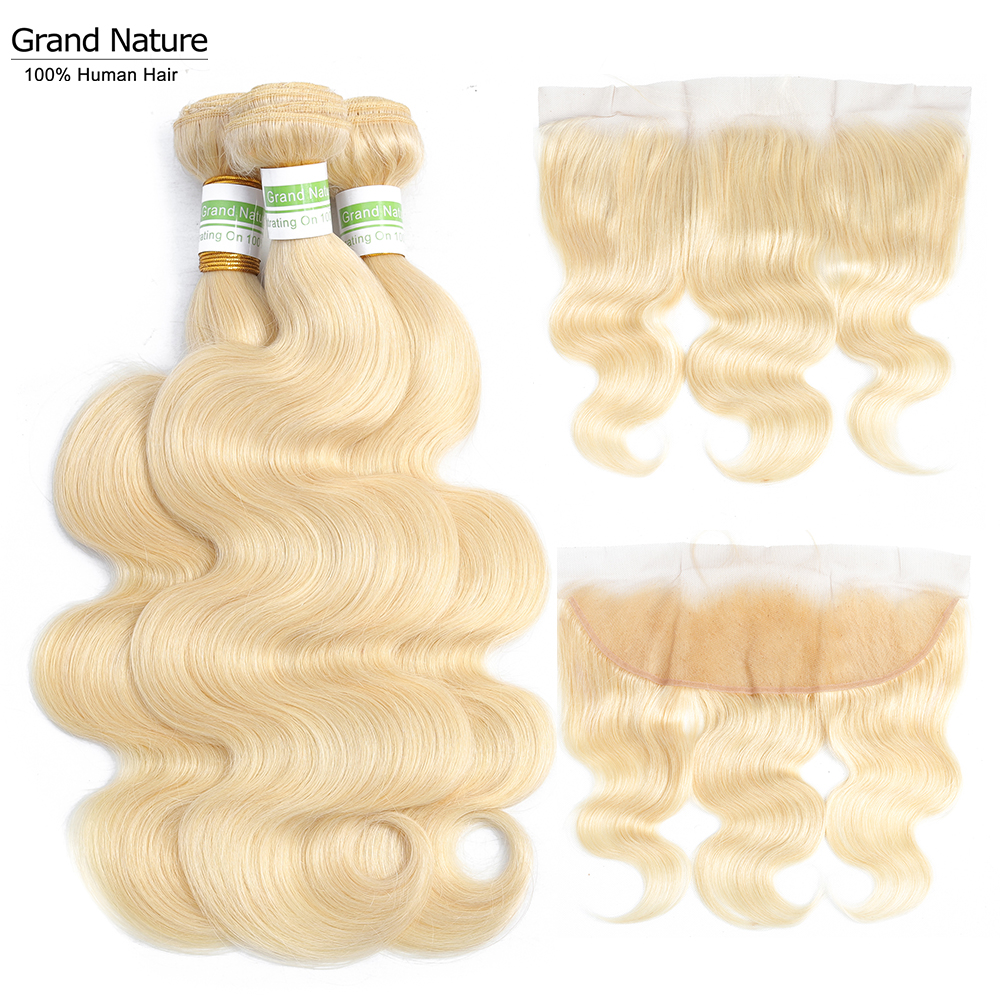 613 Blonde Bundles With Frontal Peruvian Body Wave With Frontal Remy Blonde Human Hair Lace Frontal Closure With Bundle image