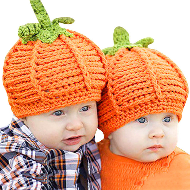 b6cdf0546 New Style Cute Newborn Baby Cartoon Pumpkin Cap Knit Hat Halloween ...
