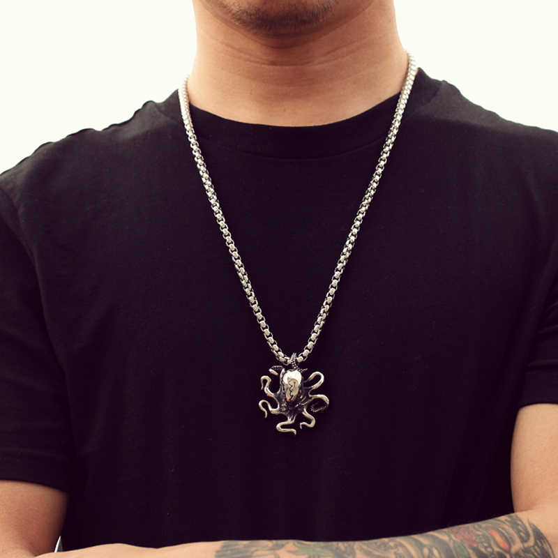 Men Necklace Titanium Stainless Steel Link Chain Animal Octopus Punk Cool Pendant Necklace Men's Accessories for Party