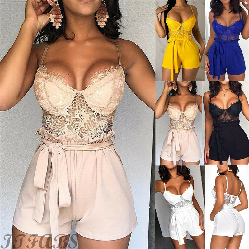 Sexy Women Summer Lace Floral Jumpsuit High Waist Female Mini Playsuit Jumpsuit Summer Party Clothes Club Wear
