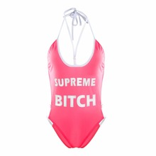 2018 Fashion best sell ladies supreme print deep neck backless bandage summer women bodysuits women casual club party romper
