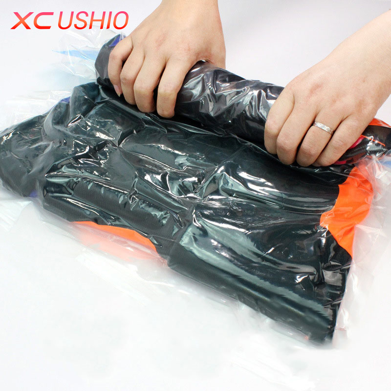 1gab vakuuma saspiesta soma Caurspīdīga ceļojuma somiņa Seal Bags Space Saver saspiesta organizētāja manuāli saspiesta vakuuma maisi